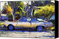 Made In The Usa Digital Art Canvas Prints - Van Gogh.s Plymouth Barracuda in Suburbia . 7D12724 Canvas Print by Wingsdomain Art and Photography