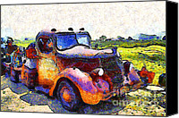 Old American Truck Canvas Prints - Van Gogh.s Rusty Old Jalopy . 7D15500 Canvas Print by Wingsdomain Art and Photography