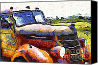 American Trucks Canvas Prints - Van Gogh.s Rusty Old Truck . 7D15509 Canvas Print by Wingsdomain Art and Photography