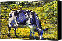 Rural Landscapes Digital Art Canvas Prints - Van Gogh.s Starry Blue Cow . 7D16140 Canvas Print by Wingsdomain Art and Photography