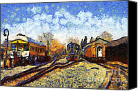 Starry Night Canvas Prints - Van Gogh.s Train Station 7D11513 Canvas Print by Wingsdomain Art and Photography