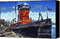 Hyde Street Pier Canvas Prints - Van Gogh.s Tugboat . 7D14141 Canvas Print by Wingsdomain Art and Photography