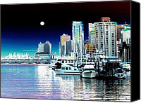 Yachts Digital Art Canvas Prints - Vancouver Harbor Moonrise  Canvas Print by Will Borden