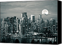 Full Moon Canvas Prints - Vancouver Moonrise Canvas Print by Lloyd K. Barnes Photography