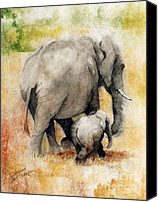 Elephants Canvas Prints - Vanishing Thunder Series - Mama and Baby Elephant Canvas Print by Suzanne Schaefer