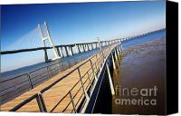 Mud Canvas Prints - Vasco da Gama Bridge Canvas Print by Carlos Caetano