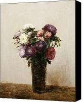 Signed Painting Canvas Prints - Vase of Flowers Canvas Print by gnace Henri Jean Fantin-Latour