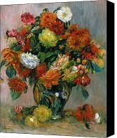 Arrangement Painting Canvas Prints - Vase of Flowers Canvas Print by Pierre Auguste Renoir