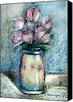 Flora Pastels Canvas Prints - Vase Of Pink Tulips Canvas Print by Arline Wagner