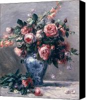 1919 Canvas Prints - Vase of Roses Canvas Print by Pierre Auguste Renoir
