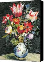 Signed Mixed Media Canvas Prints - Vase with a bird Canvas Print by Nira Schwartz