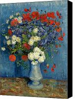 Arrangement Painting Canvas Prints - Vase with Cornflowers and Poppies Canvas Print by Vincent Van Gogh
