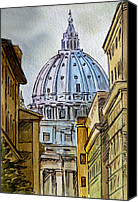Vatican Painting Canvas Prints - Vatican City Canvas Print by Irina Sztukowski