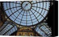Tourist Destinations Canvas Prints - Vaulted glass ceiling of the shopping arcade Galleria Vittorio Emanuele II Canvas Print by Sami Sarkis