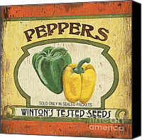 Peppers Canvas Prints - Veggie Seed Pack 2 Canvas Print by Debbie DeWitt