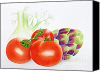Kim Bird Canvas Prints - Veggies Canvas Print by Kim Bird