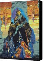 Art Quilt Tapestries - Textiles Canvas Prints - Veiled Woman with Spirit Child Canvas Print by Roberta Baker