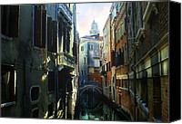 Cities Pyrography Canvas Prints - Venetian canal Canvas Print by Jan Vidra