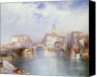 Signed Painting Canvas Prints - Venetian Canal Canvas Print by Thomas Moran