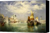 White River Scene Canvas Prints - Venetian Grand Canal Canvas Print by Thomas Moran