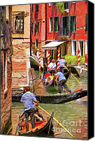 Gondoliers Canvas Prints - Venetian Red Canvas Print by Jeff Kolker