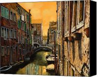 Gondola Canvas Prints - Venezia Al Tramonto Canvas Print by Guido Borelli