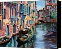 Greenish Canvas Prints - Venezia In Rosa Canvas Print by Guido Borelli