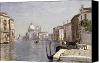 Architecture Painting Canvas Prints - Venice - View of Campo della Carita looking towards the Dome of the Salute Canvas Print by Jean Baptiste Camille Corot