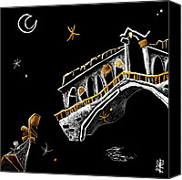 Night Tapestries - Textiles Canvas Prints - Venice Art T-shirt Design Rialto Nacasona Fashion Line - Arte Disegno Maglietta Venezia Italia Canvas Print by Arte Venezia