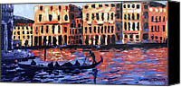 Impressionist Mixed Media Canvas Prints - Venice At Twilight Canvas Print by Anthony Falbo