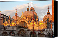 Byzantine Photo Canvas Prints - Venice Church of St. Marks at sunset Canvas Print by Heiko Koehrer-Wagner