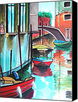 Rome Mixed Media Canvas Prints - VENICE Corner Canvas Print by Dan Haraga