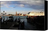 Gondoliers Canvas Prints - Venice Cruise Ship Canvas Print by Andrew Fare