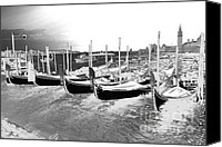 Silver Canvas Prints - Venice gondolas silver Canvas Print by Rebecca Margraf