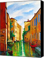 Rome Mixed Media Canvas Prints - VENICE Green Waterway Canvas Print by Dan Haraga