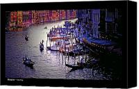 Gondoliers Canvas Prints - Venice Italy Canvas Print by Don Wolf