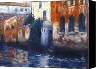 Canals Pastels Canvas Prints - Venice Reflections Canvas Print by Pat Snook