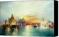 Setting Painting Canvas Prints - Venice Canvas Print by Thomas Moran