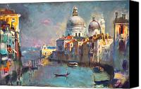 Gondoliers Canvas Prints - Venice Canvas Print by Ylli Haruni