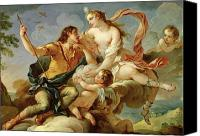 Putti Painting Canvas Prints - Venus and Adonis  Canvas Print by Charles Joseph Natoire