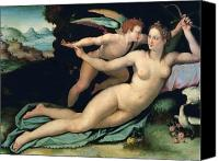 Mythological Canvas Prints - Venus and Cupid Canvas Print by Alessandro Allori