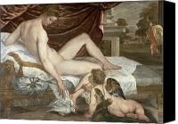Putti Painting Canvas Prints - Venus and Cupid Canvas Print by Lambert Sustris