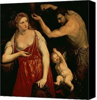 Putti Painting Canvas Prints - Venus and Mars Canvas Print by Paris Bordone