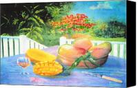 Mangoes Canvas Prints - Veranda Mangoes Canvas Print by Ky Wilms