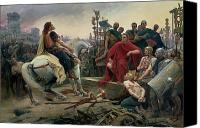 Horseback Canvas Prints - Vercingetorix throws down his arms at the feet of Julius Caesar Canvas Print by Lionel Noel Royer