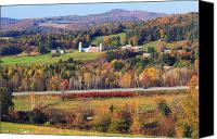 Vermont Autumn Foliage Canvas Prints - Vermont Countryside View Pownal Canvas Print by John Burk