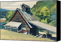 Hillside Canvas Prints - Vermont Sugar House Canvas Print by Edward Hopper