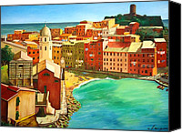 Rome Mixed Media Canvas Prints - Vernazza - Cinque Terre - Italy Canvas Print by Dan Haraga