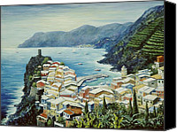 Italian Mediterranean Art Canvas Prints - Vernazza Cinque Terre Italy Canvas Print by Marilyn Dunlap