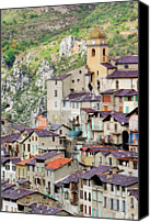 Provence Canvas Prints - Vertical Panorama Of Saorge Canvas Print by Alexandre Fundone